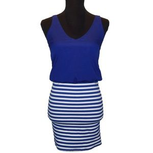 Blue and White Necessary Objects Dress.       D012